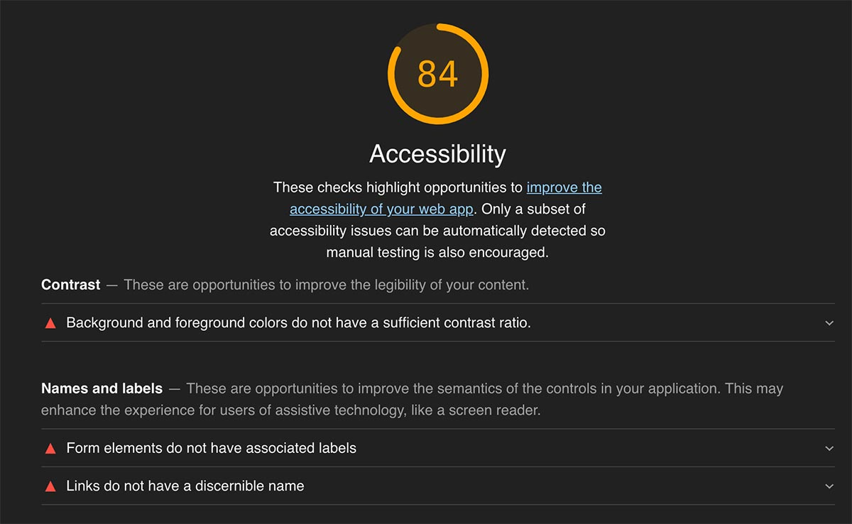 Google Lighthouse Accessibility