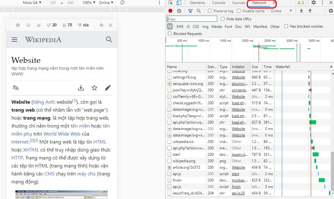 Kiểm tra tốc độ website bằng trình phát triển có sẵn