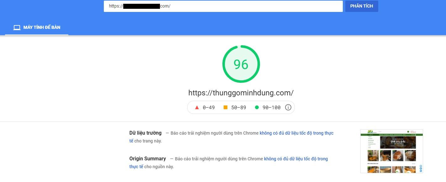 Kiểm tra tối ưu website bằng google testspeedinsght